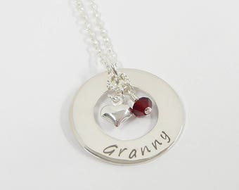 Personalized Granny Necklace - Circle of Love - Mother Necklace - Washer Style - Sterling Silver Family necklace