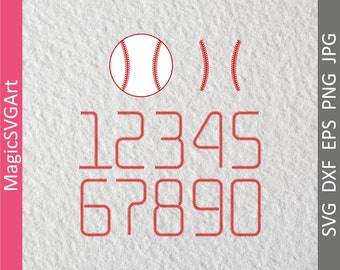 Baseball Numbers, Softball, SVG, DXF, EPS, Cut Files, Sports, Varsity, Laces, Stitches, Vinyl, Silhouette, Cricut