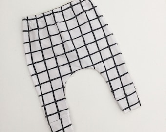 Baby Leggings, Toddler Leggings, Baby Harems - Grid /  IN STOCK - SALE