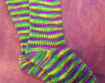 Mardi Gras Colored Striped Wool Socks