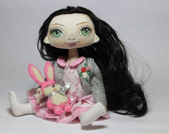 Textile doll rag doll handmade doll with removable clothes art doll collectible doll brunette doll Mother's day day of mother a gift for mom