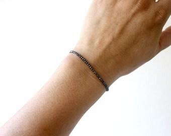 Black Hematite Bracelet, Stretchy Beaded Black Bracelet, Black Gemstone Bead Bracelet, Skinny Black Bracelet, Super Slim Stacking Bracelet