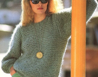 Ladies Sweater, Easy & Quick Knit, Knitting Pattern. PDF Instant Download.