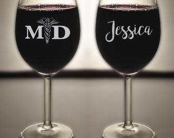 MD Medical Doctor Engraved Wine Glass, Gift for Doctor, Gift for MD, Etched Wine Glass, Best Doctor, Funny Glass