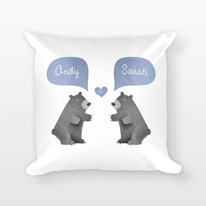 Well-known BLACK BEAR Pillow, Animal Couple Pillow, Personalized Pillow  FM28