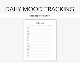 Daily Mood: Mental Health, Depression, Anxiety, Therapy Journal, Home Management, Counseling Binder, Planner, Instant Printable, Journal