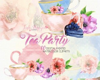INSTANT DOWNLOAD - Tea Party Digital Painted Watercolor Clip Art for Scrapbooking, and Web Design - CL0024