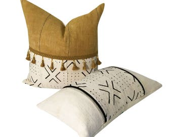 Set of Mud Cloth Pillows, Gold Mud cloth Pillow, Square and Lumbar Pillow, Tassels on Pillow, Authentic Mudcloth, Coordinated Pillows