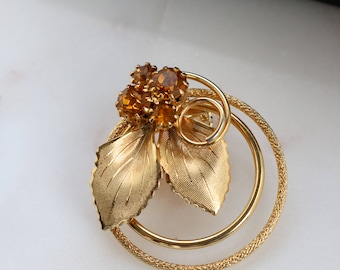 Gold Crystal Round Brooch - Gold Leaf Brooch - Crystal Gold Brooch