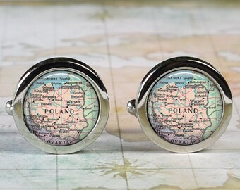Poland cuff links, map cufflinks wedding gift anniversary gift for groom map cuff links groomsmen gift for best man Father's Day gift