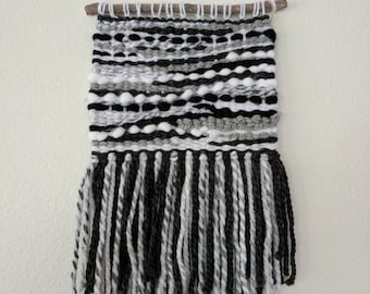 Black and White Woven Wall Hanging | Black, White & Grey Wall Tapestry | White And Black Wall Hanging