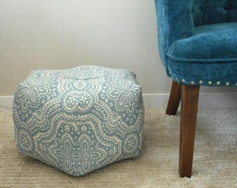 Blue and Cream Pouf, Small Pouf Ottoman