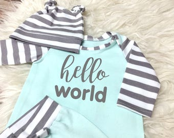 Hello World Boy Coming Home Outfit   Newborn Boy Hospital Pants Coming Home Outfit  Boy Going Home Long Sleeve Personalized Mint Green Shirt