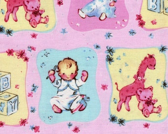 Baby Quilt Fabric by David Textiles, Designed by Beth Ann Bruske, Pink and Yellow, One Half Yard Baby Quilt Fabric