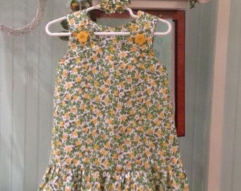 Green Shamrocks St. Patricks Day Dress, Yellow Flower and Clover (baby, girls, toddler, infant, child) St. Patrick's Jumper or Sundress
