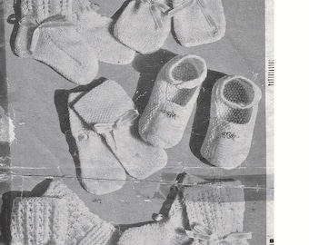 Knitting PATTERN - Baby Booties/Bootees and Mitts - 3 styles