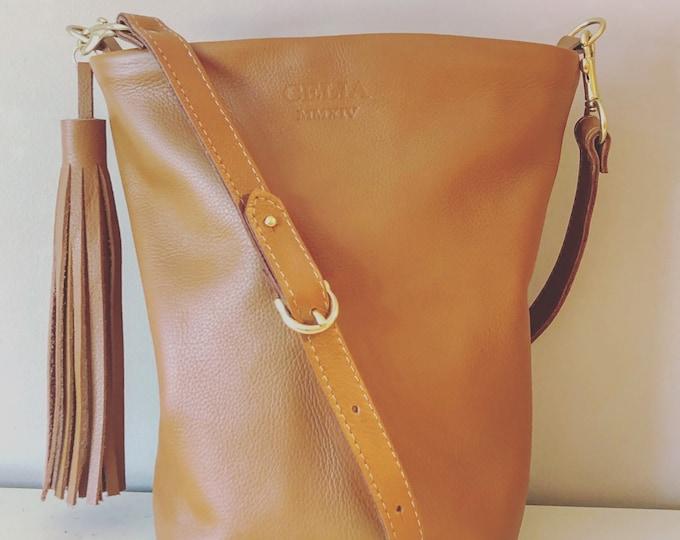 Handmade Small Leather Bucket Bag/ Hobo Bag/Crossbody/ Purse