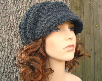 Casquette de Gavroche gris charbon Chunky bonnet chapeau Womens chapeau gris gris Beanie - bonnet tourbillon avec visière gris bonnet - accessoires femmes