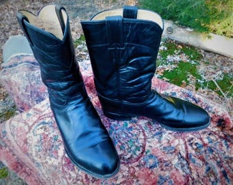 Justin Boots Size 9E,Roper Boots All Leather Boots,Cow Boy Boots,Riding Boots,Made in U.S.A. Boots,