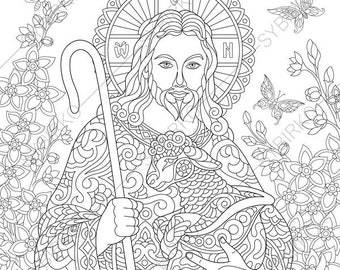 Jesus Christ With A Lamb 2 Easter Coloring Pages Religious Book For Adults Instant Download Print