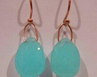 Beautiful handmade 14k solid yellow gold with natural Aqua Chalcedony stone earrings