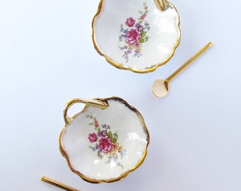 Salt and Pepper tiny plates with tiny golden spoons - French Porcelain