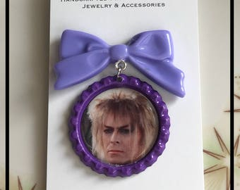 Purple Bow with Dangling Jareth the Goblin King Purple Bottle cap Charm Pinup Brooch Rockabilly