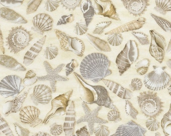Cotton Quilt Fabric Beach Haven C5353 Seashells Timeless Treasures by the half yard
