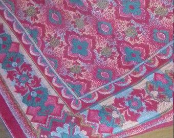 Red/Orange/Green Vintage Single Bed Throw/Blanket/Table cloth
