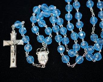 Beautiful Rosary Religious necklace, Vintage jewelry pendants charms, Plastic beads, Jesus, medal,  gift  #527
