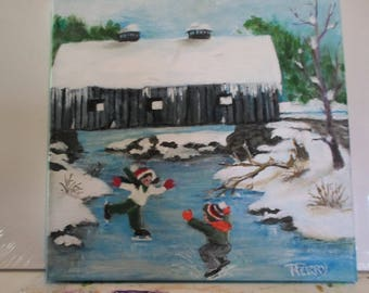 Covered bridge with young skaters
