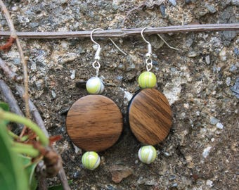 Earrings imitation wood, yellow Pearl