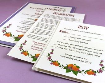 Lilac and Peaches Layered Invitation - Sample