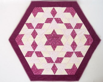Burgundy Star Table Topper, Pink Table Quilt, Hexagonal Quilted Table Runner