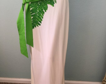 1970s Palm Frond Maxi Skirt by Estevez for I. Magnin