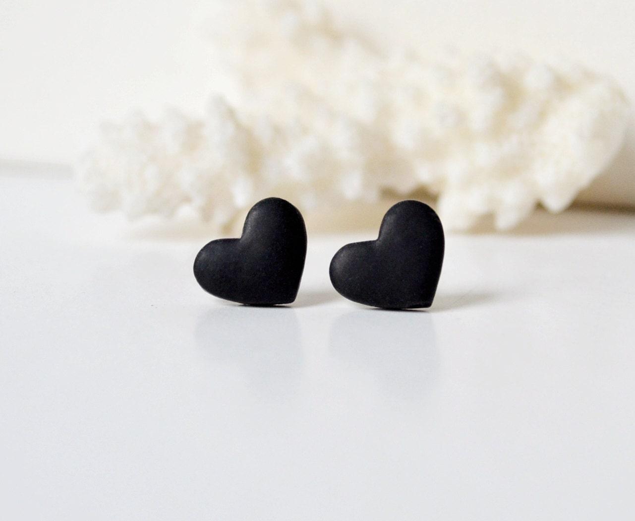 Black heart studs Mens earrings black heart earrings for men