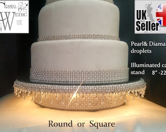 Pearl and Diamante embellished droplet illuminated led cake stand