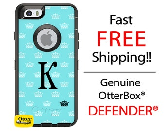 OTTERBOX DEFENDER iPhone X, 8, 8 Plus, 7, 7 Plus, 6/6s, 6 Plus, 5/5s/SE, iPod Touch Custom Crown Princess Phone Case Monogram Personalized