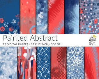 Red, White and Blue Papers - Painted Abstract Digital Papers - July 4th - scrapbooking paper - instant download - commercial use