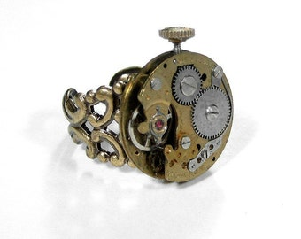 Steampunk Jewelry Ring INDUSTRIAL Watch Movement, Brass Filigree Band, Brass Gears Stem, Burning Man, Boyfriend Gift - Jewelry by edmdesigns