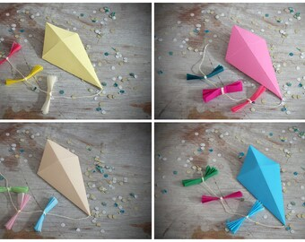Paper Kites, Gift Wrapping Decorations, set of 4, yellow, apricot, pink and blue, Wedding Decorations, Baby Shower Decorations