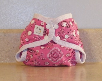 Preemie Newborn PUL Diaper Cover with Leg Gussets- 4 to 9 pounds- Pink Bandanna- 20030