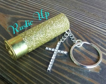 Glitter 12 Gauge Shotgun Shell Keychain with bling Cross, rustic, key chain, Any Color