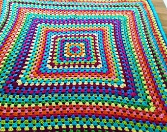 Bright Multicolor Crochet Granny Square Knit Blanket Afghan Throw