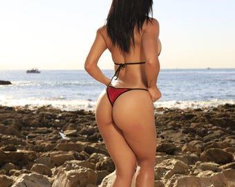 Red Glitter with Black Trim Micro Coverage Top Scrunch Butt 2 Piece Micro String Bikini Set One Size
