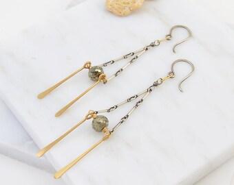 Prospera Earrings- mixed metal fringe earrings.