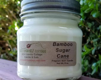 BAMBOO SUGAR CANE Soy Candle - Spa Scent - Asian Inspired Scent