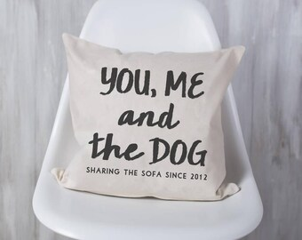 Personalised 'You, Me And The Dog' Cushion Pillow