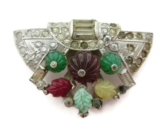 Art Deco Dress Clip - Vintage Fruit Salad Rhinestone Bridal Jewelry Sash Clip, Red Yellow Green