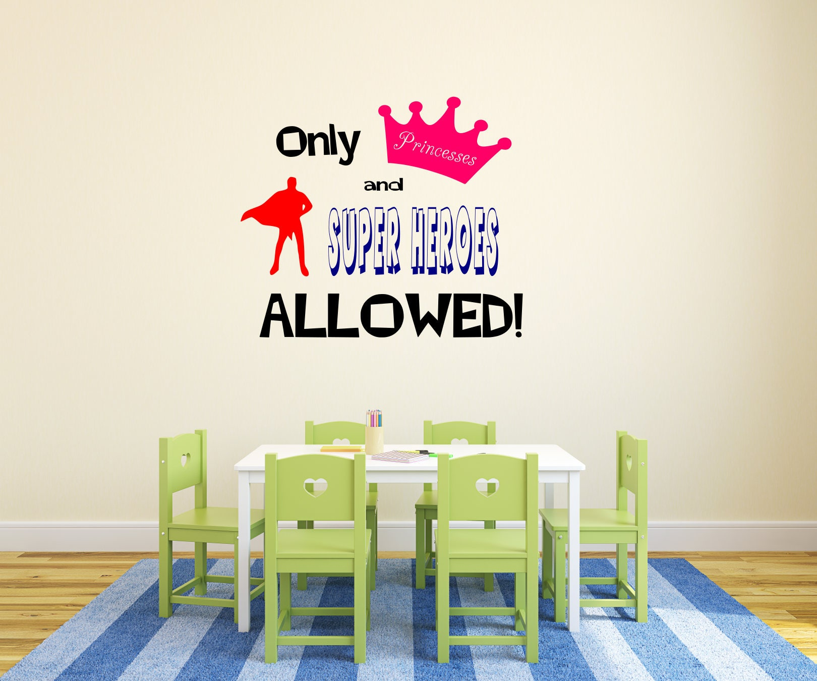 Princess And Superhero Decal, Princess Vinyl Decal, Princess Wall Decals, Superhero  Wall Decal, Siblings, Kids Playroom, Superhero Wall Art